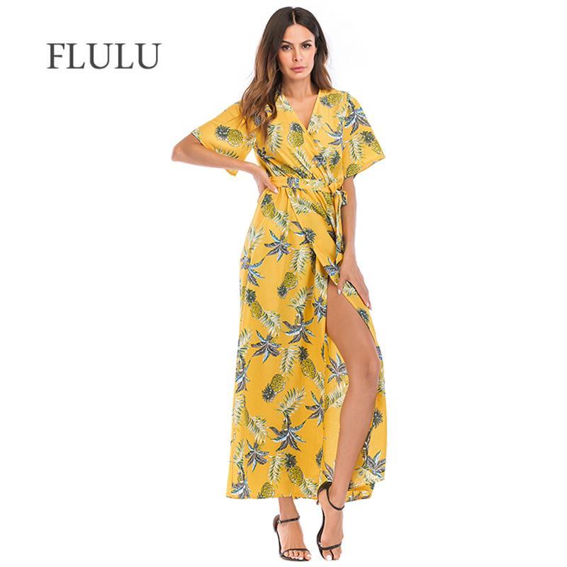 209be1a2c6 2019 FLULU Print Floral Summer Dress Women 2018 New Casual Deep V High Fork  Long Dress Female Elegant Bohemian Beach Party Dresses From Cadly, ...