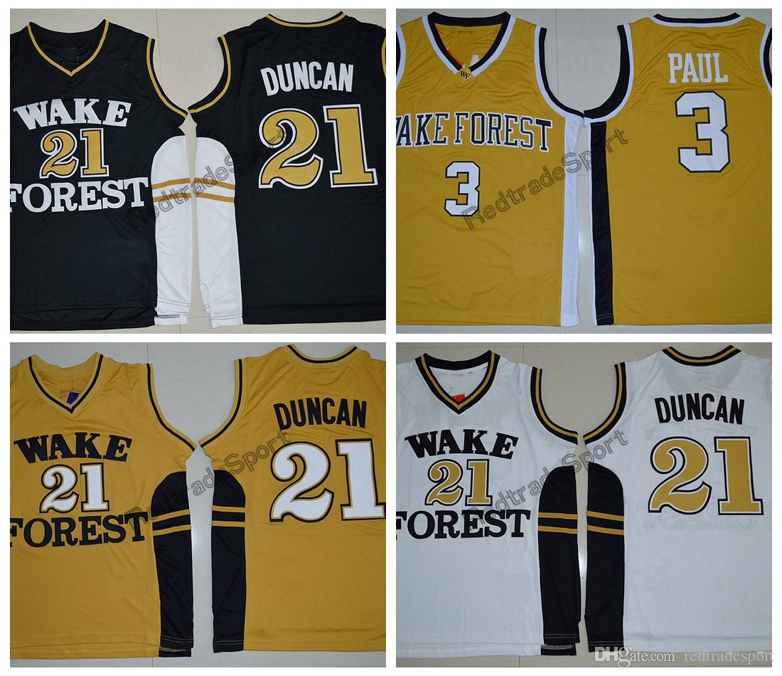 first rate 1f37d 88b04 Vintage Tim Duncan #21 Wake Forest Demon Deacons College Basketball Jerseys  Black White Chris Paul #3 Gold Stitched Basketball Shirts