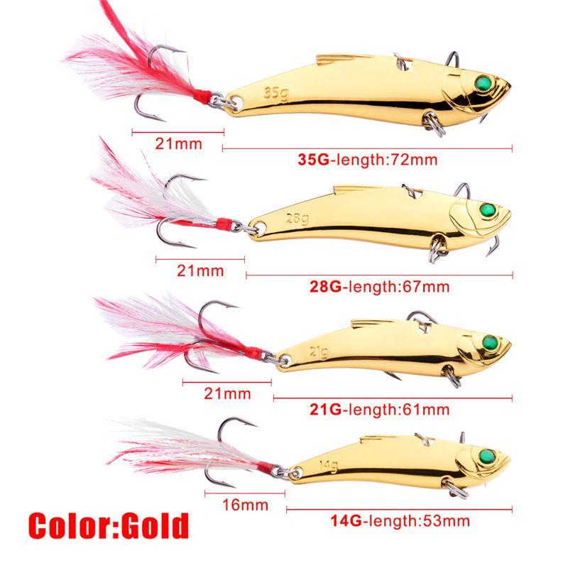 High Quanlity Retail Box Spoons Fishing Baits 14g 21g 28g 35g Silver/Gold Metal VIB Blades Spinner Jigs lure