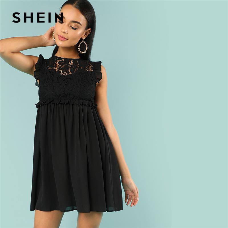 2d636d3d91d 20187 SHEIN Frill Detail Smock Dress Black Round Neck Sleeveless Short Shift  Dress Women Summer High Waist Plain Vintage Dress Cheap Formal Dresses Dress  ...