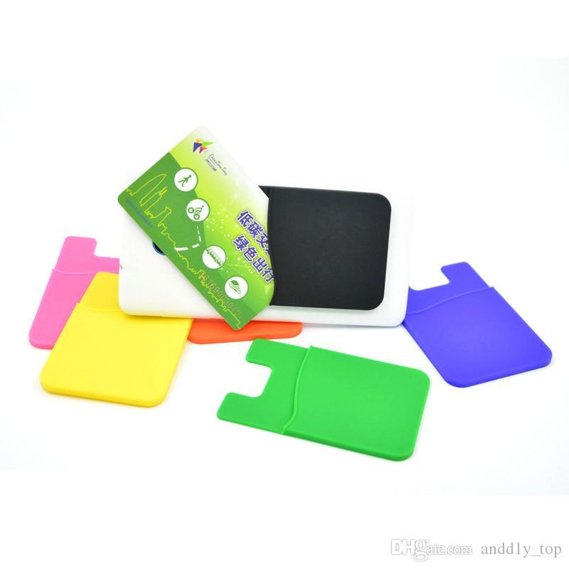 Telefon-Kartenhalter-Silikon-Handy-Mappen-Kasten-Gutschrift Identifikation-Karten-Halter Pocket Stick Auf 3M Klebstoff mit OPP Beuteln
