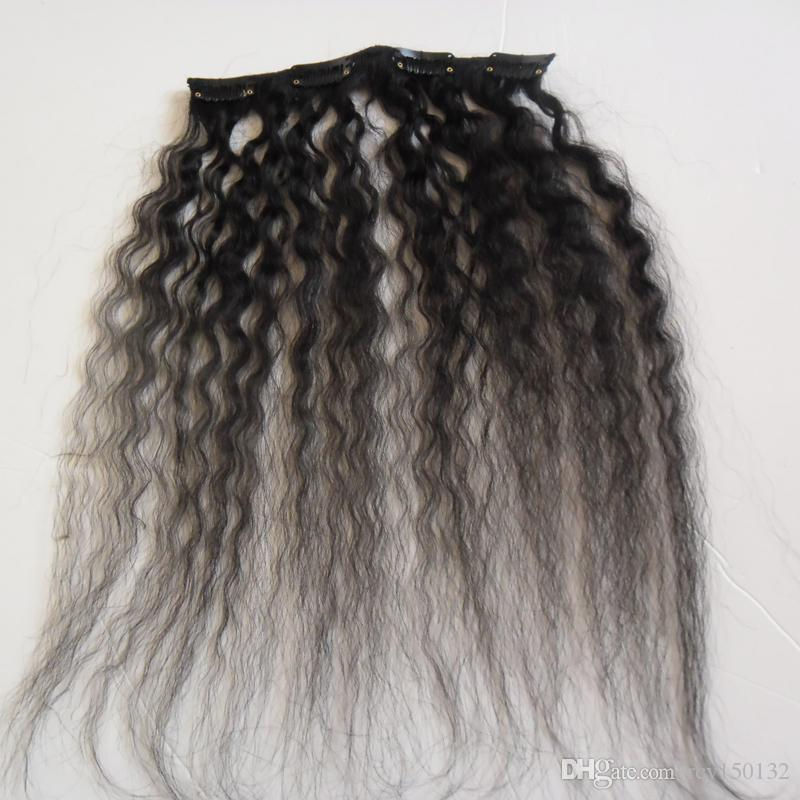 Kinky Straight Clip In Human Hair Extensions And 120gNatural Color Coarse Yaki Clip in Human Hair Extensions