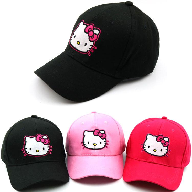 9f914a4a0ff15 Baby boy and girl hats 2018 autumn Children s cartoon hello kitty bend  along the cap cute baby outdoor baseball caps Snapback