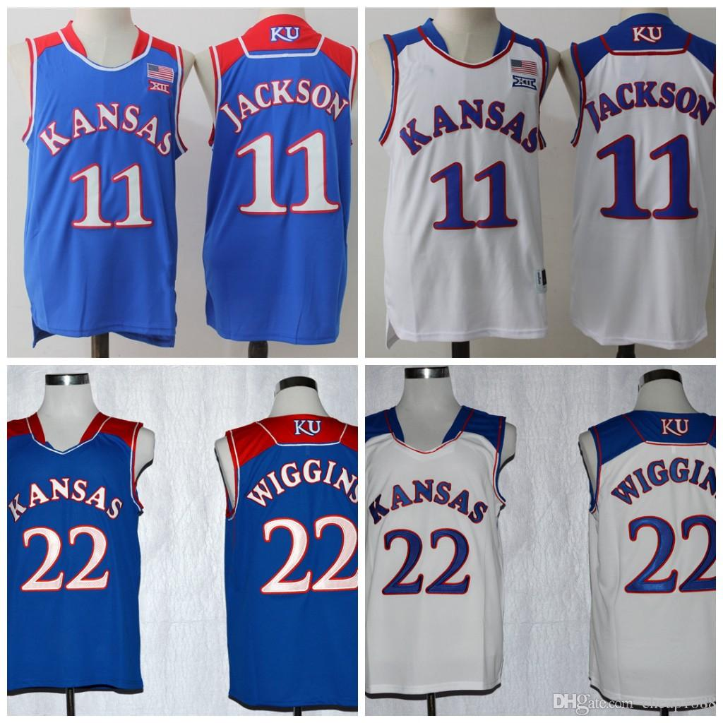 2019 NCAA Kansas Jayhawks College Basketball Jersey 22 Andrew Wiggins 11  Josh Jackson White Blue Stitched Jerseys From Cheap1688 66d1a04bcf2