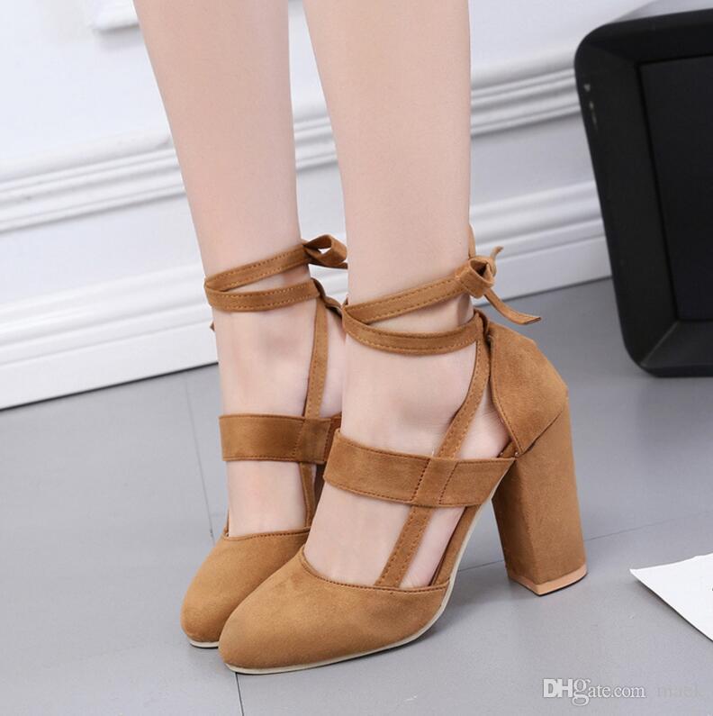 a20cc4e4149a94 Großhandel Fabrik Preis Sexy Gladiator Dicke Heels Sandalen 10 Cm Mode  Hochzeit Kleid Schuhe Frau Lace Up High Heels Hohl Frauen Pumpt Plus Größe  Von Maek