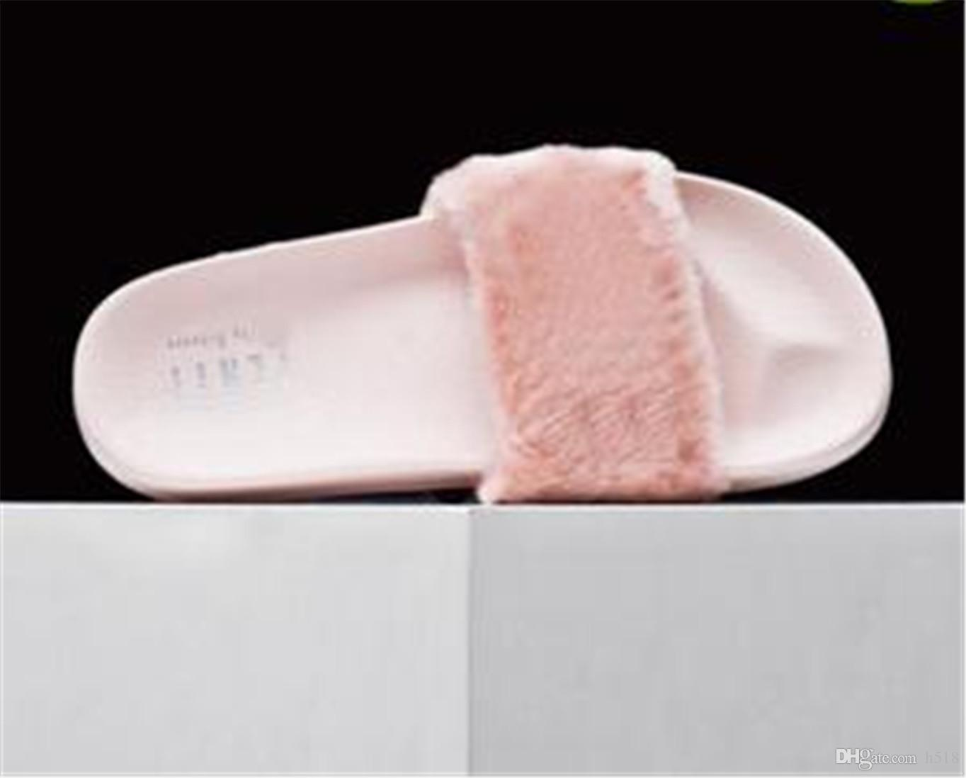 49c8dbb3c2dd Dust Bags+ Box Leadcat Fenty Rihanna Shoes Women Slippers Indoor Sandals  Girls Fashion Scuffs Pink Black White Grey Fur Slides Slippers Loafers For  Women ...