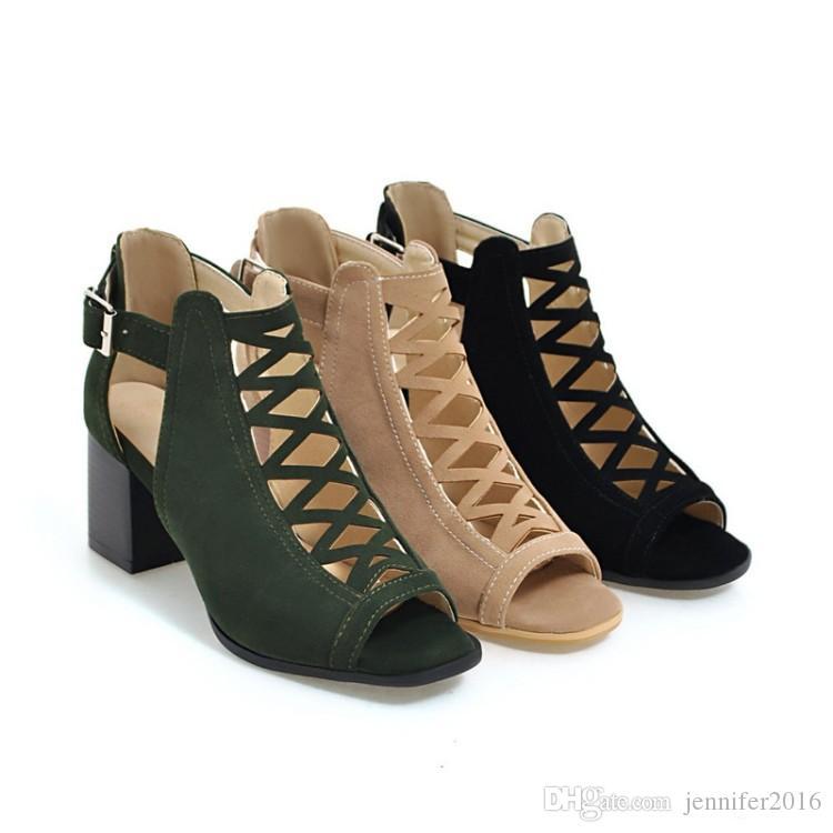 a9515ae5b0c0d BLACK+DARK GREEN+BEIGE Flock Women Sandals Gladiator High Heels Strap Pumps  Cut Outs Peep Toe Fashion Summer Ladies Thick Heels Sandals Gladiator  Sandals ...
