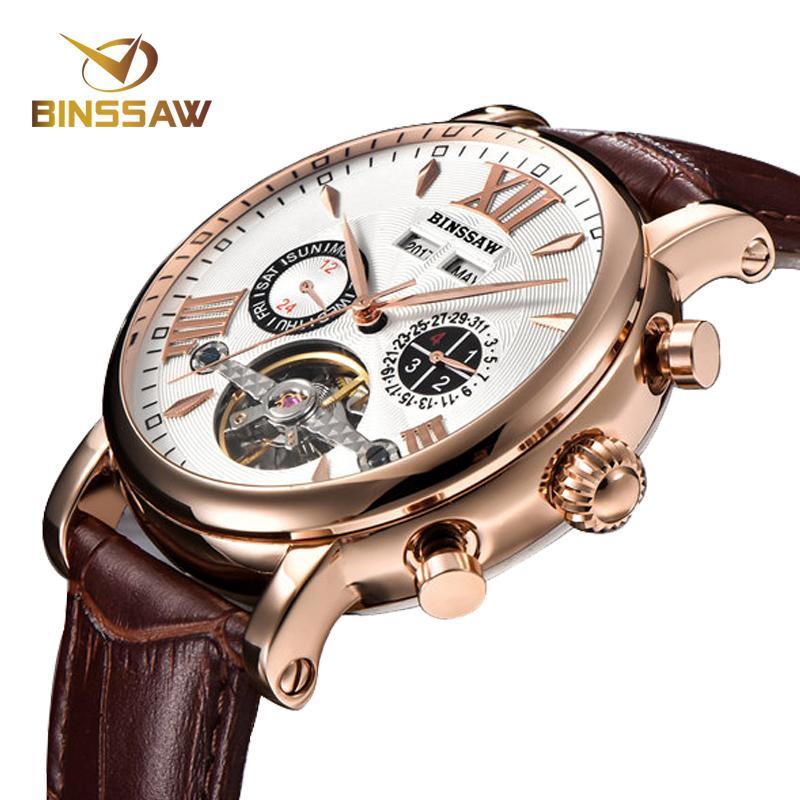 26316e7cb41 Compre Binssaw Homens Marca De Luxo Homens Relógio Mecânico Automático  Turbilhão Homem De Couro De Negócios Calendário Relógios Relogio Masculino  D18100706 ...