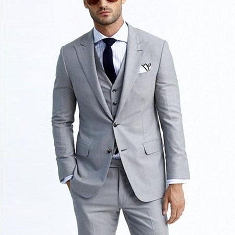 2019 New Groom Tuxedos Grey Men Suits For Wedding Business Suit Peaked Lapel  Jacket Pants Vest Best Man Blazer Groomsmen Wear Designer Mens Suits Dress  For ... 8232e5233a67