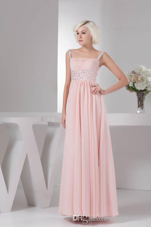 New Elegant Spaghetti Formal Bridesmaid Dresses Long A Line Chiffon Country Style Maid of Honor Gowns Beads Crystals Party Dresses 2018
