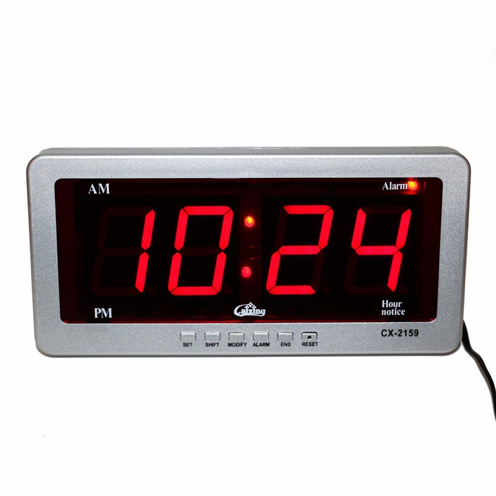 e993ffd8ad3 Compre Digital LED Relógio Despertador Grande Número De Relógios De Mesa  Eletrônico AC Alimentado Levou Relógio De Parede Relógio De Exibição  Vermelho ...