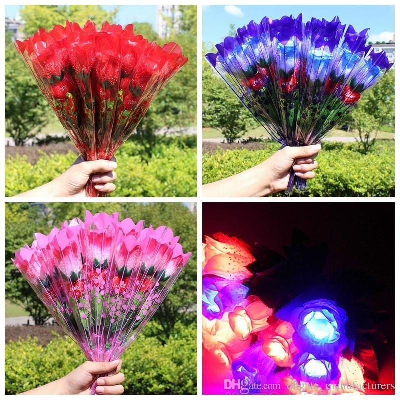 Led Light Up Rose Flower Valentines Mothers Day Gift Birthday Party