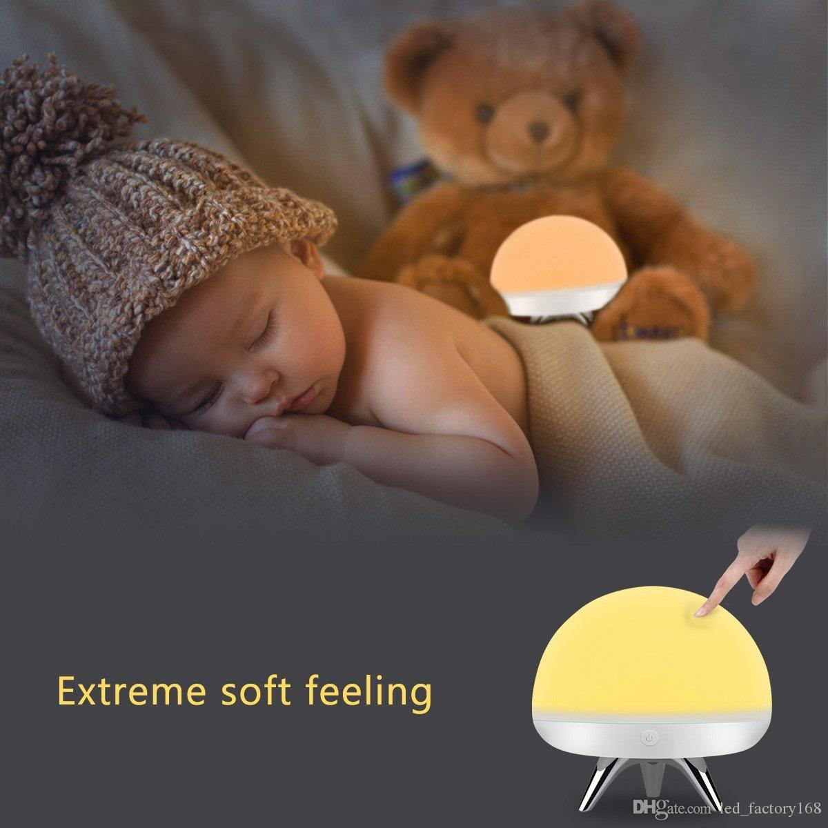 Children Kids LED Night Light Silicone Toy Nightlight Baby Rooms Nursery Lamps Bedroom Touch Sensor Table Lamps Christmas Gifts with 4 Light