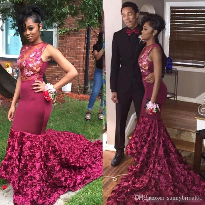 2018 African Burgundy Sheer Mesh Top Lace Mermaid Prom Dresses 3D Floral Applique Sweep Train Evening Gowns Formal Party Dresses