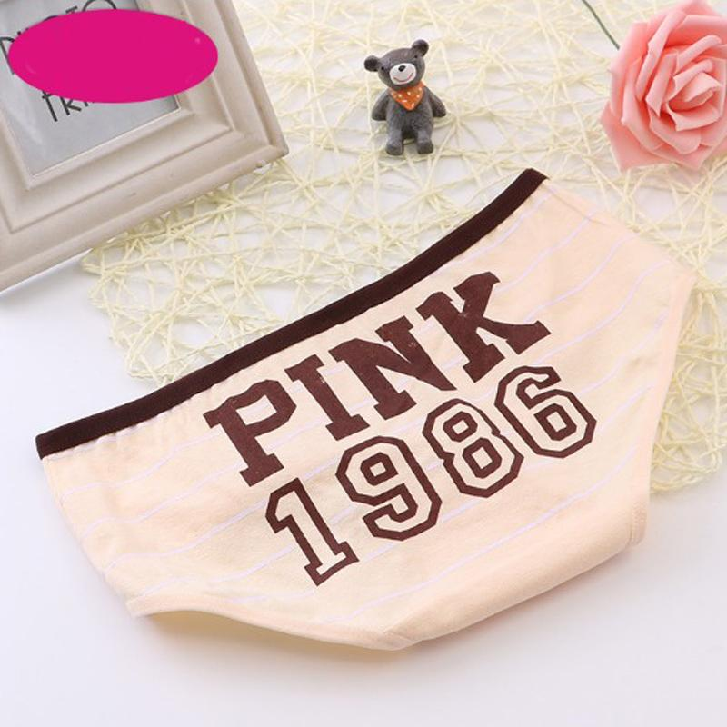 Lady Sexy Panties Girls Women Cotton Underwear Pink Tanga Bragas Striped Briefs Cute Letter Calcinha one size