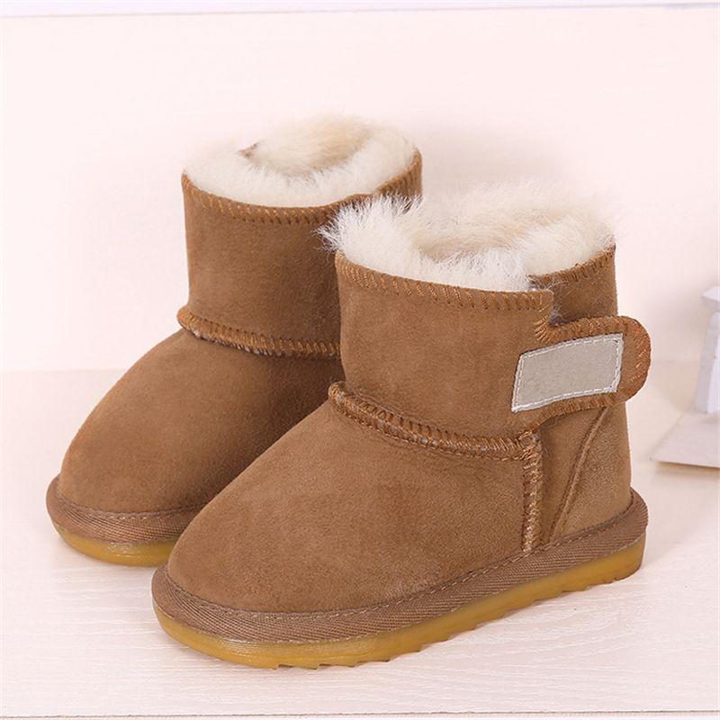 b698da877a3 Kids Shoes Girls Snow Boots Baby Australia Waterproof Sheepskin Boots Baby  Winter Fur Plus Velvet Warm for Kids Size21-28