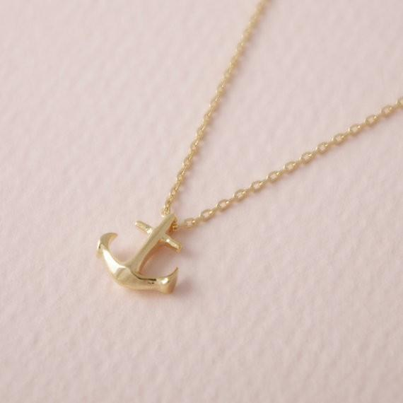 2018 Fashion Gold-color new element Tiny Anchor plated Necklace Pendant Necklace for women gift Wholesale