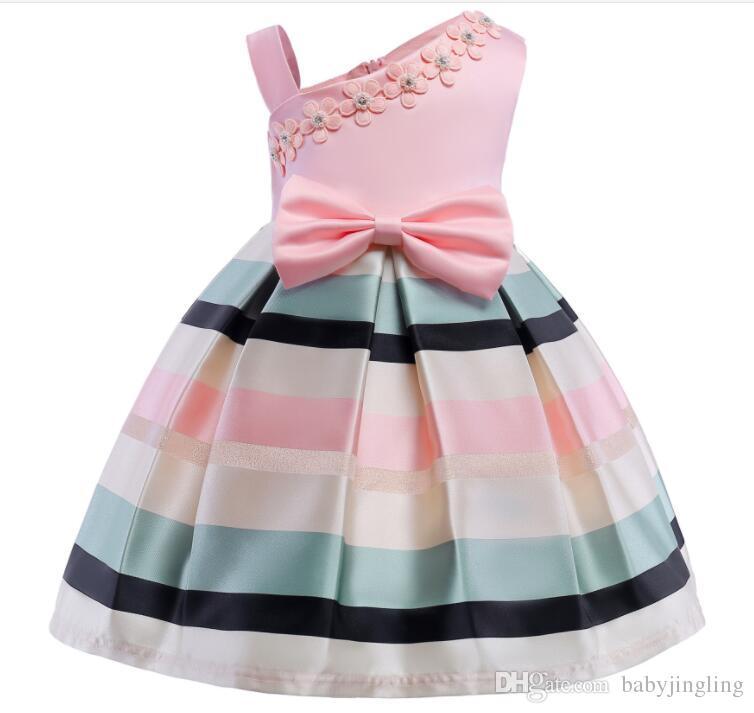5572459db72 2019 Christmas Flower Dress Girl Princess Costume Dresses Girl Party Stripe  Tulle Kids Children Prom Gown Vestido Formal Dress Bow From Babyjingling