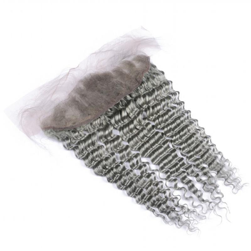 El cabello humano de Malasia, de color gris puro, teje ofertas de paquetes de cabello virgen con frontales Cierre de encaje frontal de color gris plateado 13x4 con paquetes