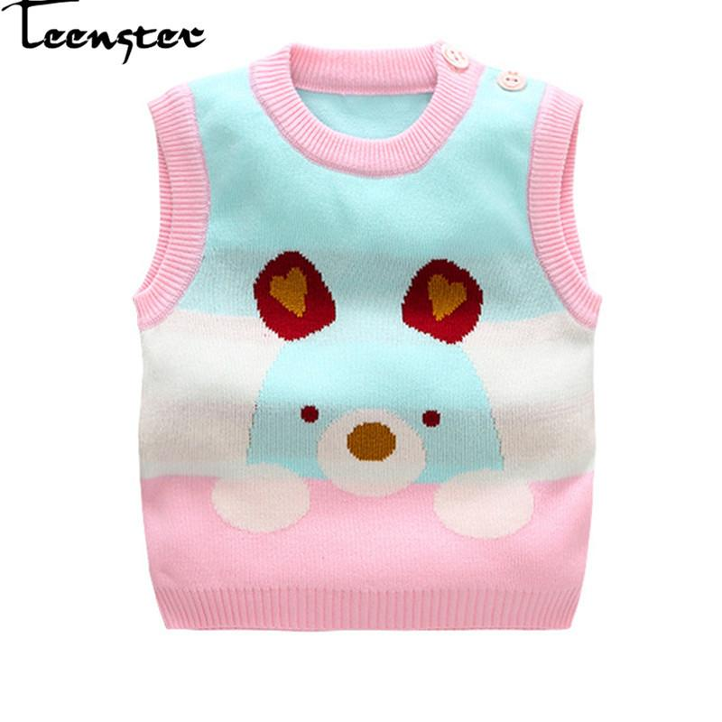 d5cd926a9 Teenster Baby Girl Winter Clothes Cartoon Bear Embroidery Cute Sleeveless  Sweater Kids Autumn Fille Sweaters 9 12 24 M Childrens Sweaters Sweater  Patterns ...