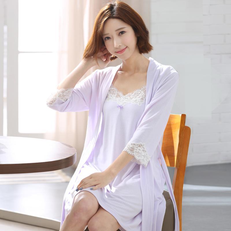 be6d6d2f9e35 2019 Sexy Women Cotton Long Nightgown Robe Sets Strap Dress Nightdress Lace  Kimono Sleepwear Female Nightwear Two Piece Set Summer From Vikey06