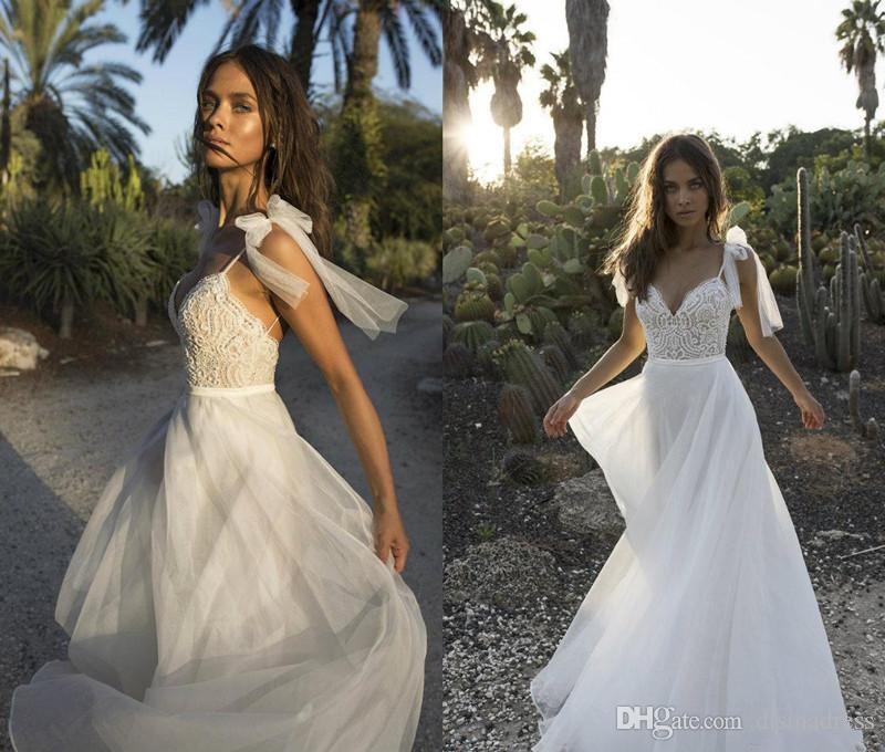 2018 Boho una línea de vestidos de novia sexy Spaghetti Backless encaje con cuentas de perlas Beach vestido de novia vestidos de novia baratos más tamaño