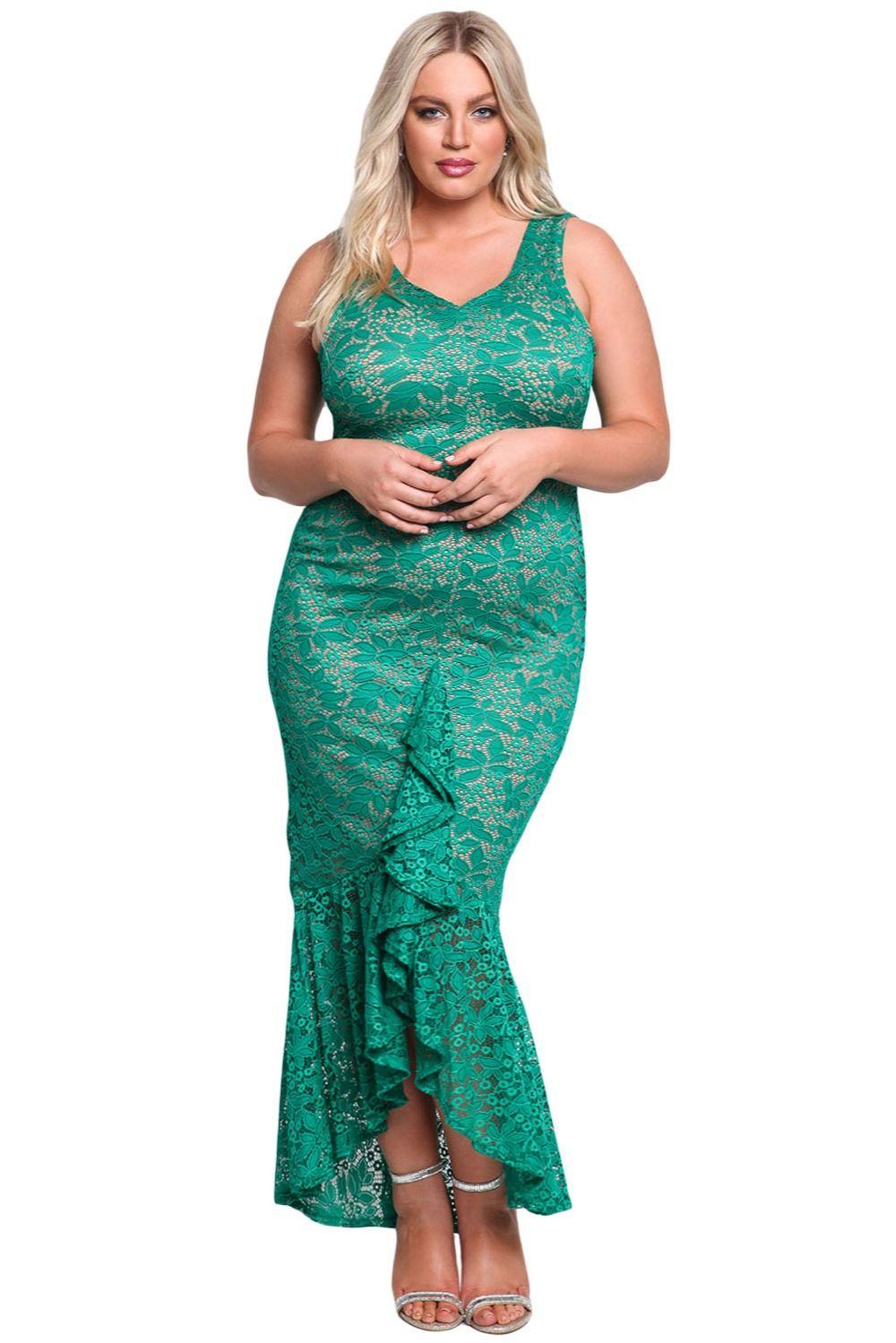 Elegant Mermaid Large Size White Lace Dress XL Sexy Plus Size ...