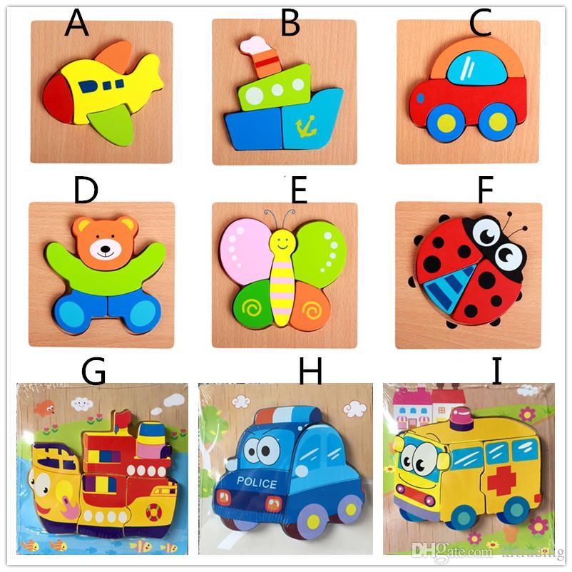 20 stili simpatici animali in legno Puzzle 15 * 15cm Baby colorful Legno puzzle intelligenza giocattoli bambini regali ragazze boyd