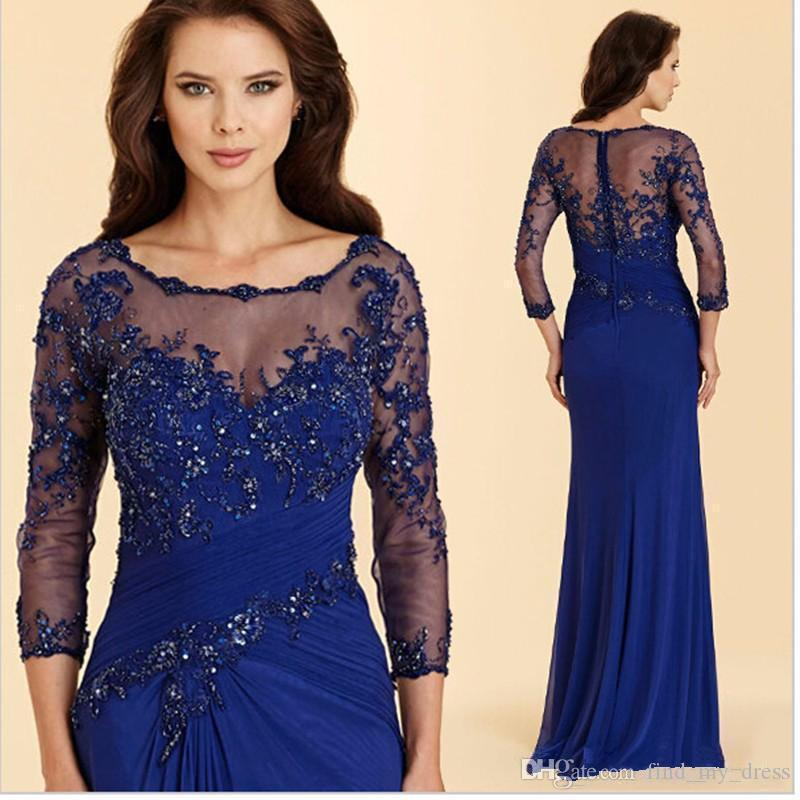 024df782 Glitter Transparent Bead Scoop Chiffon 3/4 Long Sleeve Blue Sheath Mother  Of The Bride Dress Crystal Pleats Applique Floor Length Party Gown  Affordable ...
