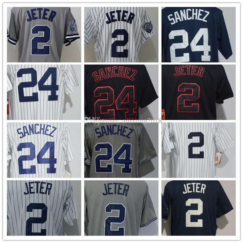 2019 Wholesale Men S NYY Jersey 2 Jeter 24 Gary Sanchez Black White Grey  Cool Base Baseball Jerseys High Quality Embroidery Logos From Amazing2018 0aa8d774acc