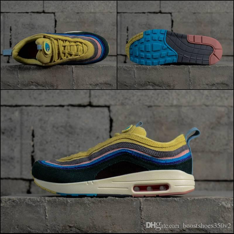 2018 New 97 Sean Wotherspoon Men Running Shoes Top 97s Women Vivid Sulfur Multi Yellow Blue Hybrid Sports Sneakers 100% authentic cheap price Orange 100% Original cheap sale popular free shipping prices buy cheap best store to get ayKUI1