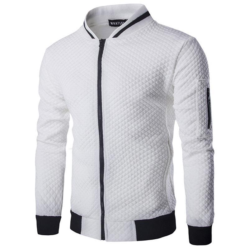 livraison gratuite 32a7d 2b791 Men's Veste Homme Bomber Fit Argyle zipper jacket casual jacket 2018 autumn  new trend white fashion men's