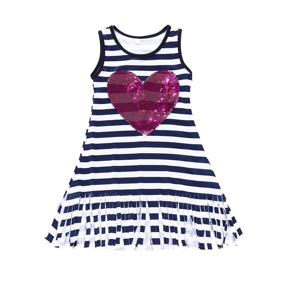 1e606faacc 2019 Summer Kids Baby Girls Clothes Sleevless Striped Dresses Sequined  Heart Pattern Sundress Tassels Clothing Boutique Vestidos Dress 2 6Y From  Bonne kid