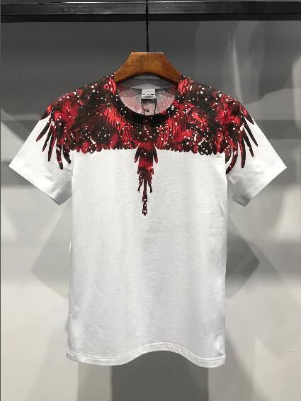 Acquista 2018 Nuova Estate Di Marca Di Lusso Mens Marcelo Burlon  Fiammeggiante Acqua Goccioline Ali Stampa T Shirt Designer T Shirt Tee  Maglietta In Cotone ... a96afcb8b2b1