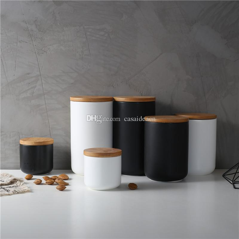 Beau Nordic Ceramic Storage Jar With Wood Lid Airtight Sealed Ceramic Canister  Set Of 3 Container For Coffee Tea Sugar Spice Black White Ceramic Storage  Jar Wood ...