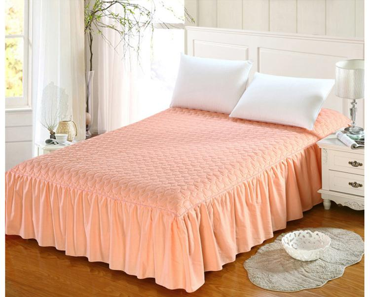 Thicker Mattress Cover Bedspreads Cotton+Thick, Add Quilted Bed Skirt  Non Slip Elastic Band Fitted Sheet Skirt Pure Color Bed Skirt Bed Skirt  Elastic ...