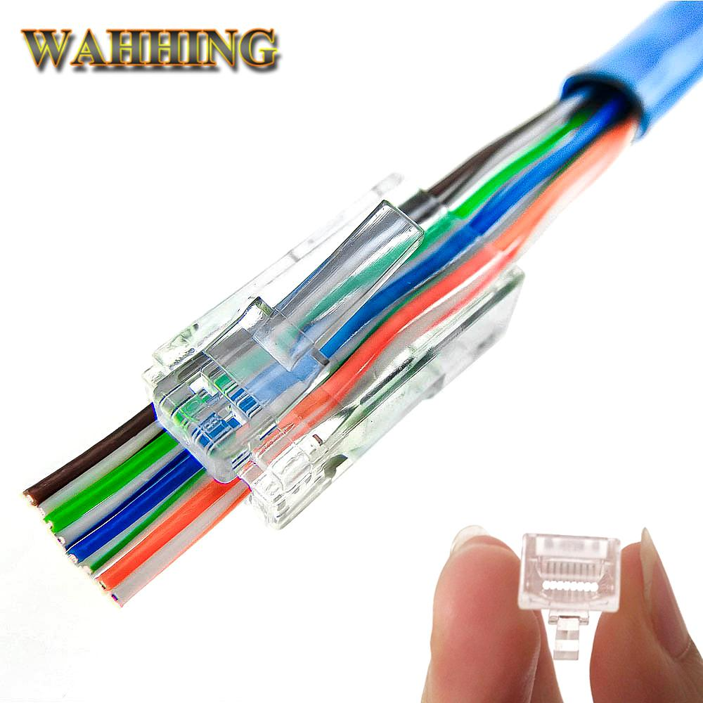 50/EZ Rj45 Connector Cat5e Cat6 Connector Network Unshielded 8Pin Modular  Rj45 Plug Utp Terminals Have Hole HY1525 Computer Wires And Cables Computer  ...