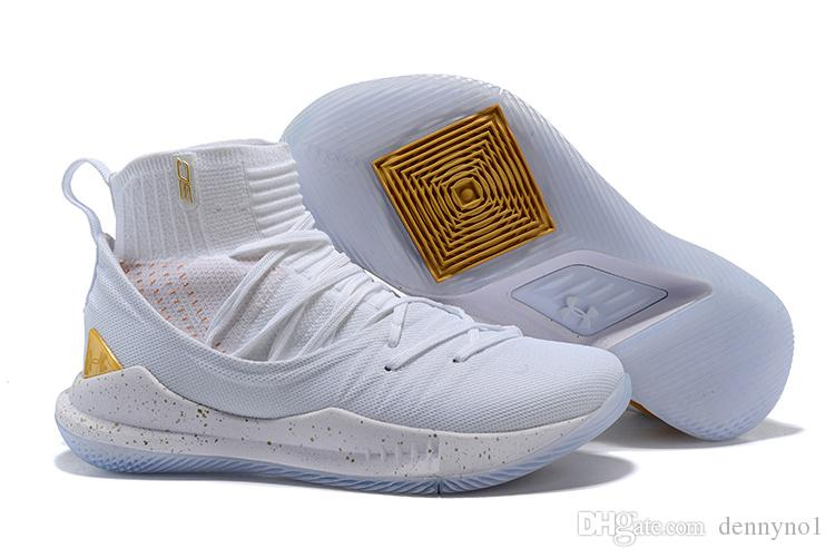 High Cut Basketball Shoes Designer Shoes Men Stephen Curry 5 Gold