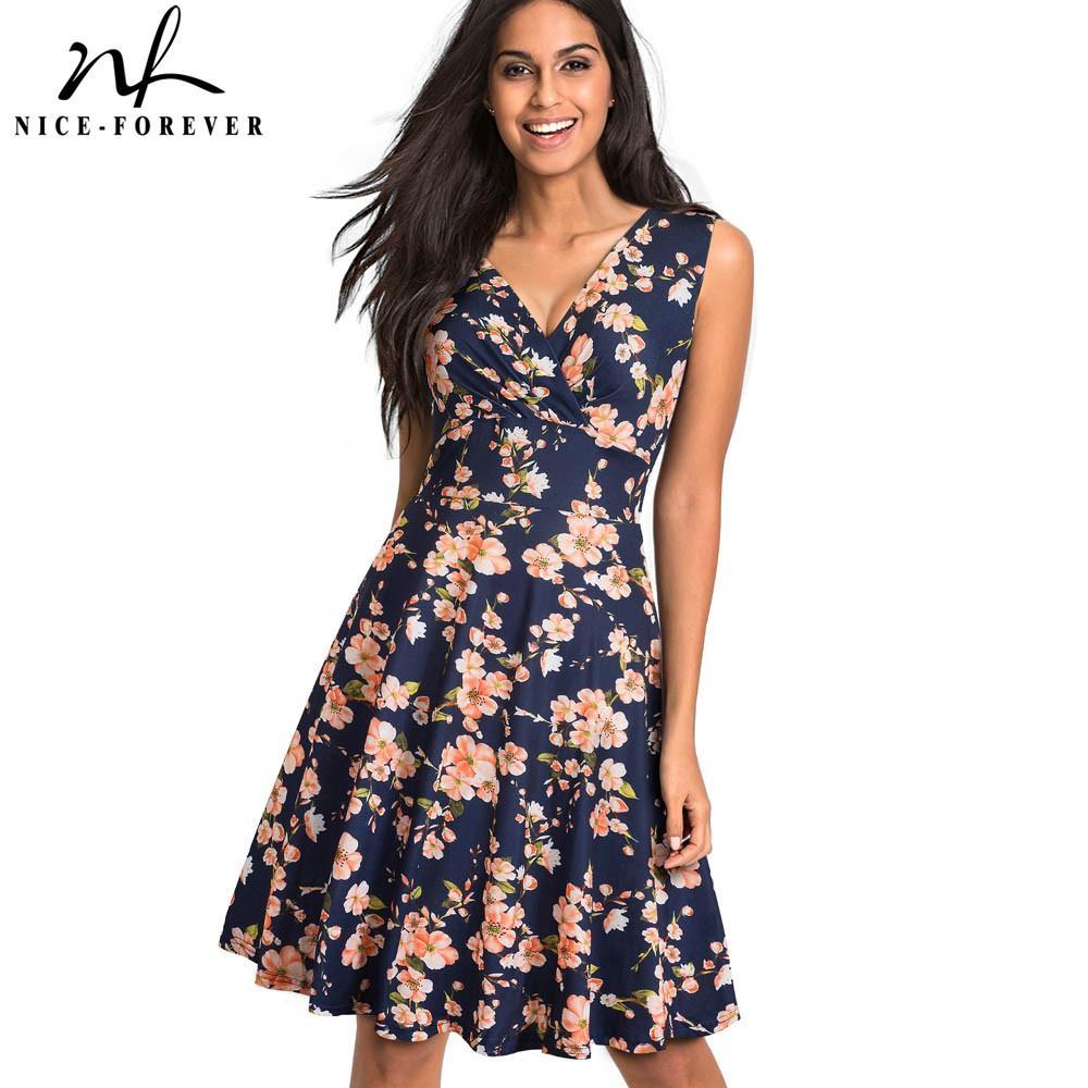 489cdbcd670 2019 Nice Forever Vintage Elegant Flowery Pleated Summer Vestidos A ...