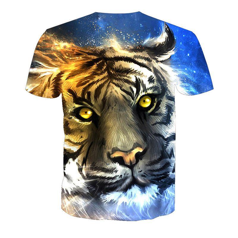 Wholesale Fashion Design 3D Skull Tiger Digital Printed Men Fashion T shirt Tees 6XL