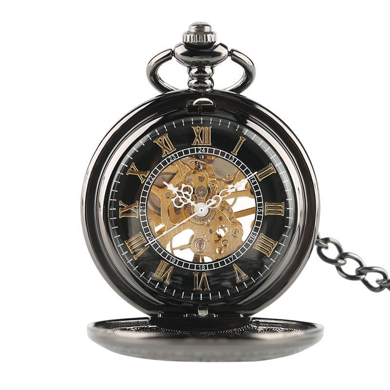 2d07369b3c1 Compre Alta Qualidade Preto Mecânico Antigo Projeto Da Engrenagem Vento  Relógio De Bolso Clássico Romano Número Oco Tampa Homens Steampunk Pingente  De ...