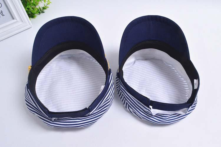 Blue White Military Hat Sailors Ship Boat Captain Navy Marine Cap Children Cosplay Sea Boating Nautical Woman stripe Hats 2Size