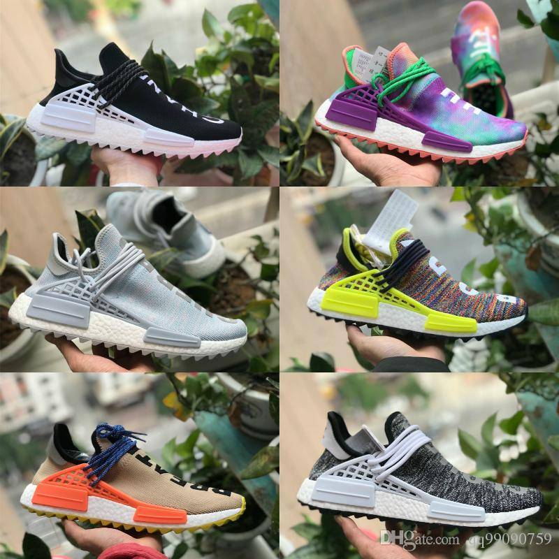 brand new a3705 a54c2 2018 New Pharrell Williams Human Race Nmd Men Women Sports Running Shoes  Black White Grey Nmds Primeknit PK Runner XR1 R1 R2 Sneakers Running Shoes  For ...