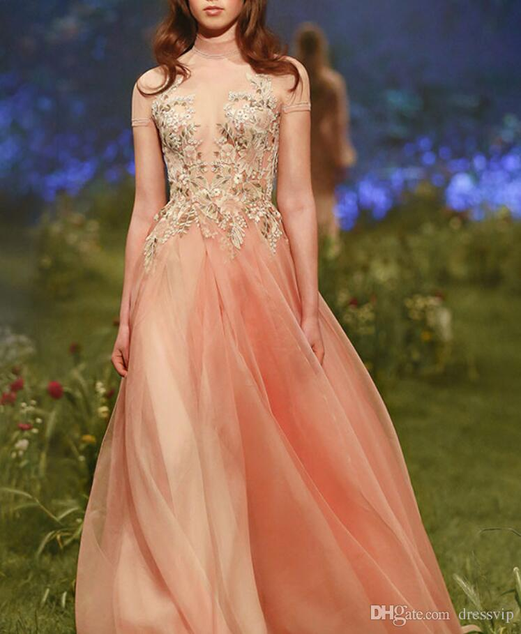 2018 Paolo Sebastian Prom Dress Long High Neck Tulle Applique Short Sleeve Formal Dress Party Wear Sexy Evening Gowns Vestidos De Quinceañer