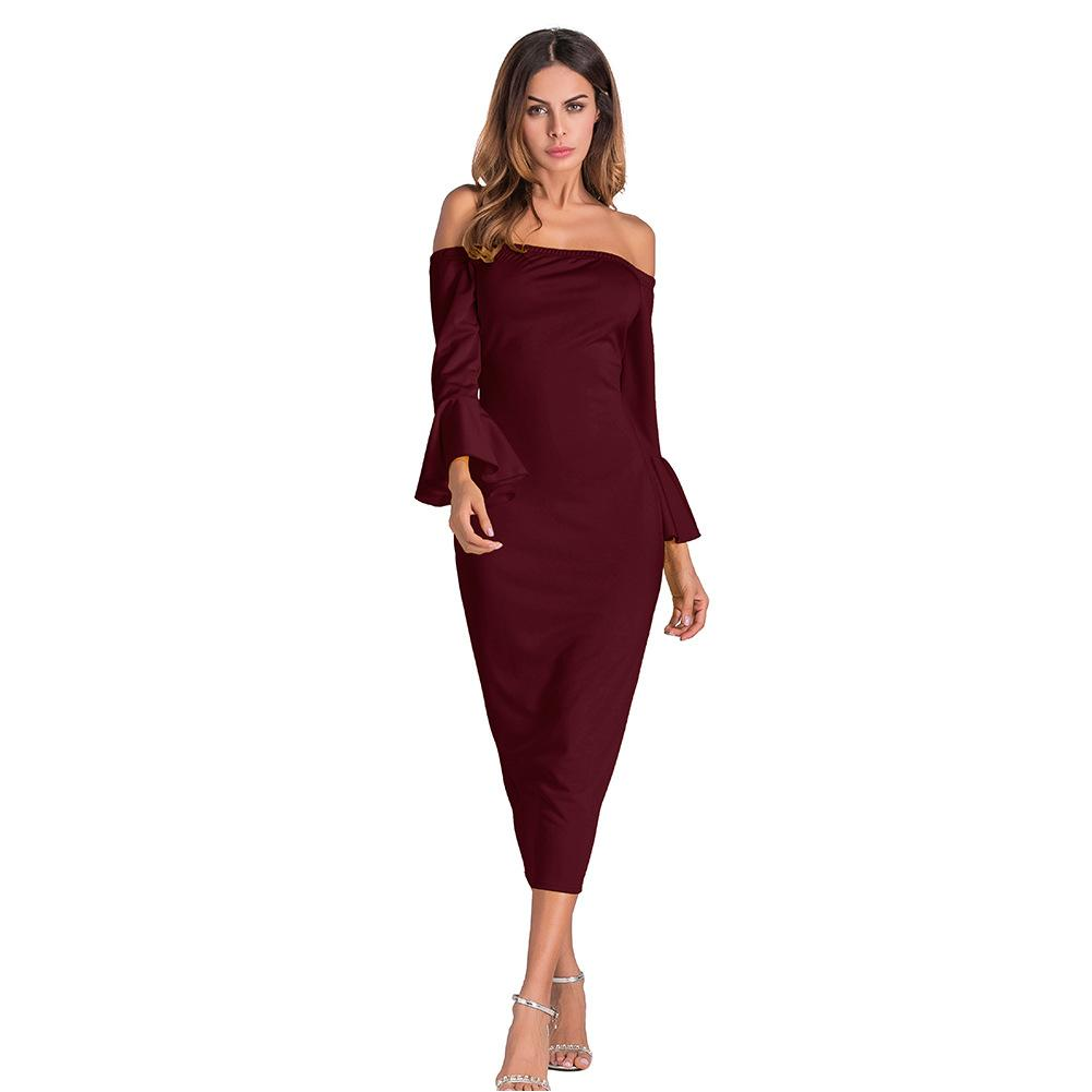 b8081c1c66282 2019 New Off Shoulder Midi Dress 2019 Autumn Slash Neck Flare Sleeve  Bodycon Black Blue Red Elegant Sexy Women Party Dresses Dress For Women  Prom Gowns From ...