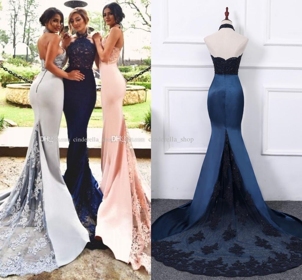 Elegant Mermaid Prom Dresses 2018 Halter Backless Sweep Train Lace ...