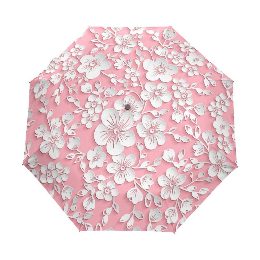 9be4d8ee1bd3 Three Folding 3D Floral Umbrella Women Sun Rain Automatic Windproof  Umbrella Women Sunscreen Anti UV Brand Umbrellas