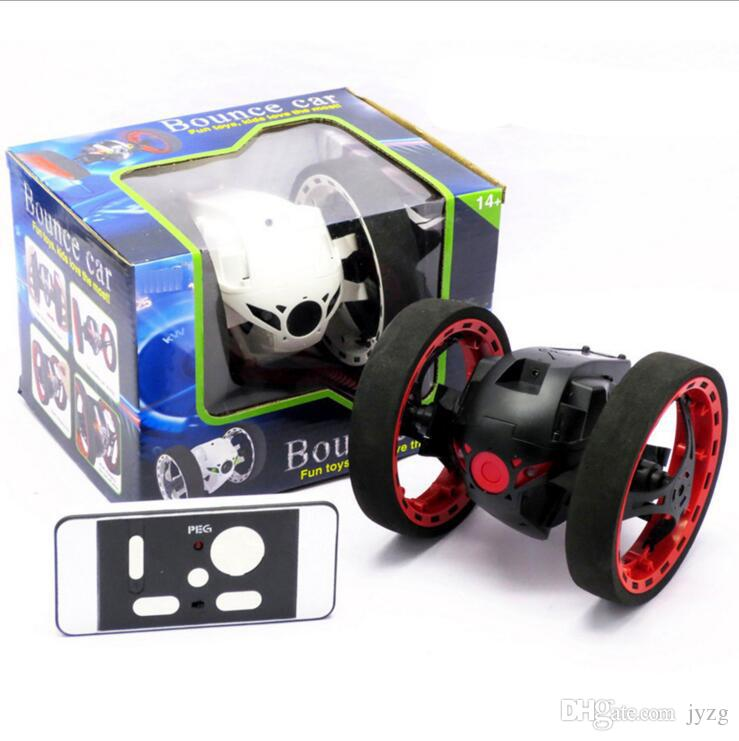 RC Car Bounce Car PEG SJ88 2.4G Remote Control Toys Jumping with Flexible Wheels Rotation LED Night Lights RC Robot gift wholesale