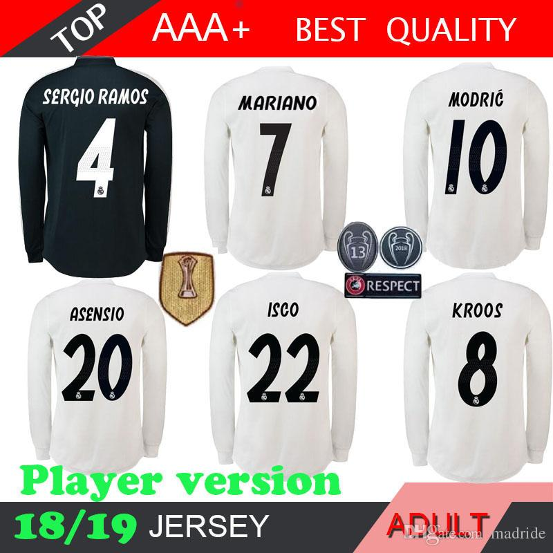 newest 8d0d1 6f0dd MARIANO 2019 Champions League Real Madrid Player Version long sleeve Soccer  Jersey 18 19 Home shirt KROOS ISCO MODRIC LUCAS VISCO BENZEMA