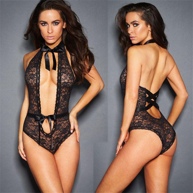 2017 Lencería Sexy Hot Black / Red Lace Floral Dress Porn Sex Underwear  Sexy Teddy Baby Dolls Lenceria Sexy Disfraces S918